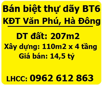 Bán biệt thự dãy BT6 SĐCC KĐT Văn Phú, Hà Đông, 14,5 tỷ, 0962612863