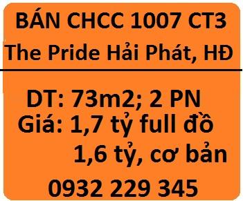Bán CHCC 1007 tòa CT3 The Pride Hải Phát, Hà Đông; 1,7 tỷ; 0932229345