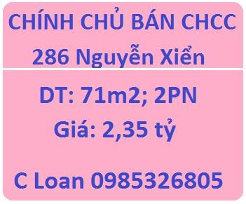 Bán CHCC 286 Nguyễn Xiển; 2,35 tỷ; 0985326805