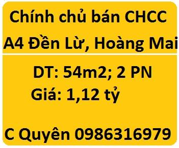 Bán CHCC A4 Đền Lừ, Hoàng Mai, 1,12 tỷ; 0986316979