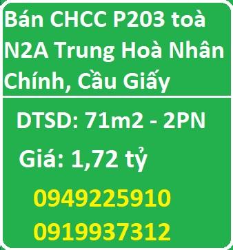 Bán CHCC P203 toà N2A Trung Hoà Nhân Chính, Cầu Giấy, 1,72 tỷ, 0919937312