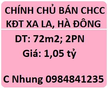 Bán CHCC tại KĐT XaLa, Hà Đông; 1,05 tỷ; 0984841235