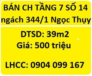Bán CHCC tầng 7 tại 14 ngách 344/1 Ngọc Thụy, Long Biên; 500tr; 0904099167