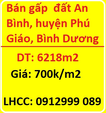 Bán gấp  đất An Bình, huyện Phú Giáo, Bình Dương,  700k/m2; 0912999089