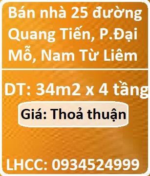 Bán nhà 25 đường Quang Tiến, P.Đại Mỗ, Nam Từ Liêm, 0934524999