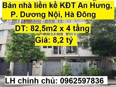 Bán nhà liền kề KĐT An Hưng, P. Dương Nội, Hà Đông, 8,2 tỷ, 0962597836