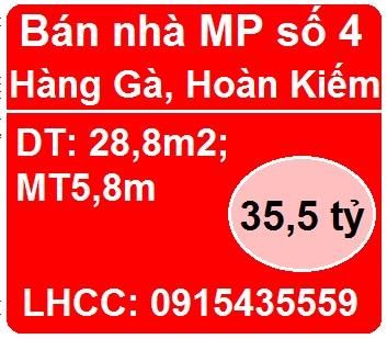 Bán nhà mặt phố số 4 Hàng Gà, P.Hàng Bồ, Hoàn Kiếm, 35,5 tỷ, 0915435559