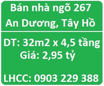 Bán nhà ngõ 267 An Dương, Tây Hồ; 2,95 tỷ; 0903229388