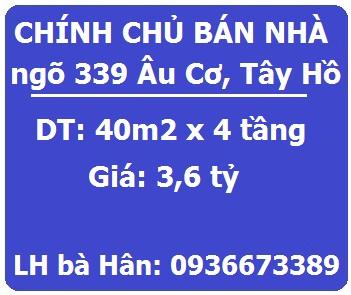 Bán nhà ngõ 399 Âu Cơ, Nhật Tân, Tây Hồ, 3,6 tỷ, 0936673389