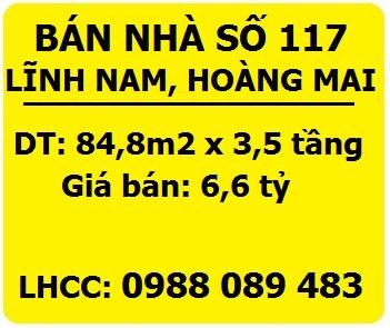 Bán nhà số 117 Lĩnh Nam, Hoàng Mai, 6,6 tỷ, 0988089483