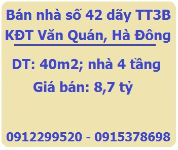 Bán nhà số 42 dãy TT3B KĐT Văn Quán, Yên Phúc, Hà Đông, 8,7tỷ, 0912299520