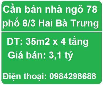 Cần bán nhà riêng ở ngõ 78 phố 8/3 Hai Bà Trưng, 3,1 tỷ; 0984298688