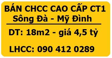 Chính chủ bán CHCC cao cấp tòa CT1 Sudico, Mỹ Đình  Sông Đà, 0904120289