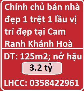 Chính chủ bán nhà đẹp 1 trệt 1 lầu vị trí đẹp tại Cam Ranh Khánh Hoà, 3,2tỷ; 0358422961