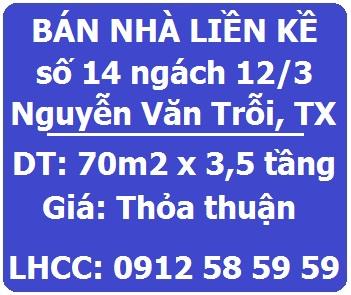 Chính chủ bán nhà LK số 14 ngách 12/3 Nguyễn Văn Trỗi, 0912585959