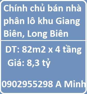 Chính chủ bán nhà phân lô khu Giang Biên, Long Biên, 8,3 tỷ, 0902955298