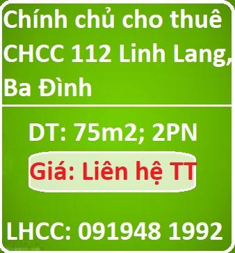 Chính chủ cho thuê CHCC 112 Linh Lang, Ba Đình, 0919481992