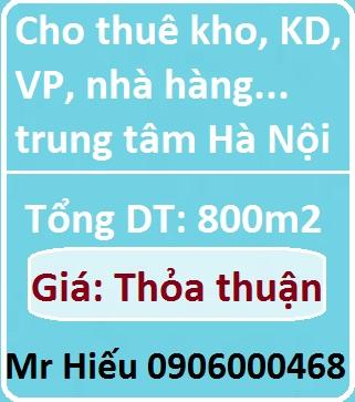 Chính chủ cho thuê kho, xưởng, mặt bằng KD, VP, công ty, nhà hàng... trung tâm Hà Nội, 0906000468