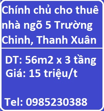 Chính chủ cho thuê nhà ngõ 5 Trường Chinh, Thanh Xuân, 15tr/t, 0985230388
