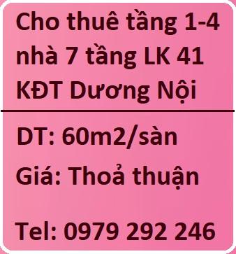 Chính chủ cho thuê tầng 1,2,3,4 nhà 7 tầng LK 41 KĐT Dương Nội, 0979292246