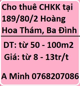 Cho thuê căn hộ khép kín full đồ tại 189/80/2 Hoàng Hoa Thám, Ba Đình, 0768207086