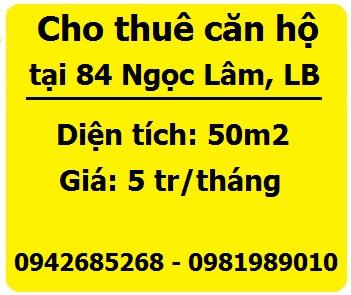 Cho thuê căn hộ tại 84 Ngọc Lâm, Long Biên, 5tr, 0942685268