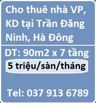 Cho thuê nhà làm văn phòng, kinh doanh tại Trần Đăng Ninh, Hà Đông, 5tr/t/s, 0379136789
