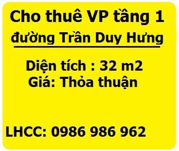 Cho thuê tầng 1 làm VP, shop thời trang tại Trần Duy Hưng, 0986986962