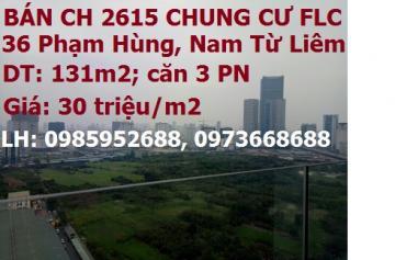 Bán CH P.2615 chung cư FLC 36 Phạm Hùng, Nam Từ Liêm, 30tr/m2; 0973668688