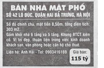 Bán nhà mặt phố số 42 Lò Đúc, Hai Bà Trưng, Hà Nội
