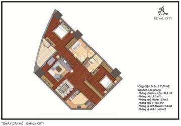 Cần bán CH tầng 34 tòa Royal City, tòa R1B, 3,78 tỷ, 0989288012