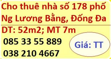 Cho thuê nhà số 178 phố Nguyễn Lương Bằng, Đống Đa; 0853355889