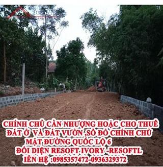 Nhượng hoặc cho thuê 700m2 đất mặt quốc lộ 6 Lương Sơn, Hòa Bình, 0936329372