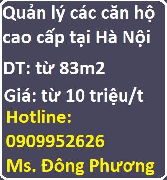 Quản lý các căn hộ Goldmarkcity 136 Hồ Tùng Mậu; Sunshinecity; Vinhomes; Decapitale... Giá từ 10 - 100tr/tháng